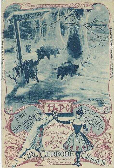 Germany (Picture Stationery) 1900 3Pf card advertising 'TAPO', a Cigar, depicting Wild Boar at top, Harlequins below with child on hobbyhorse with Giessen cds; good condition.