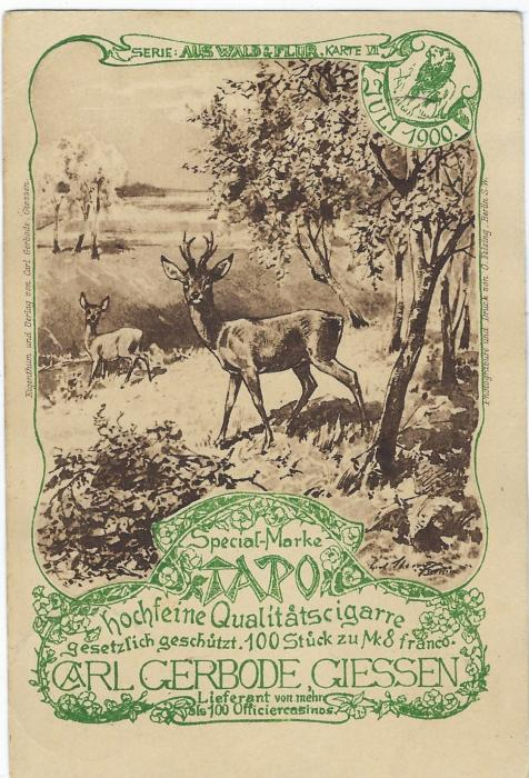 Germany (Picture Stationery) 1900 3Pf card advertising 'TAPO', a Cigar, depicting Stag and Doe cancelled Giessen; good condition