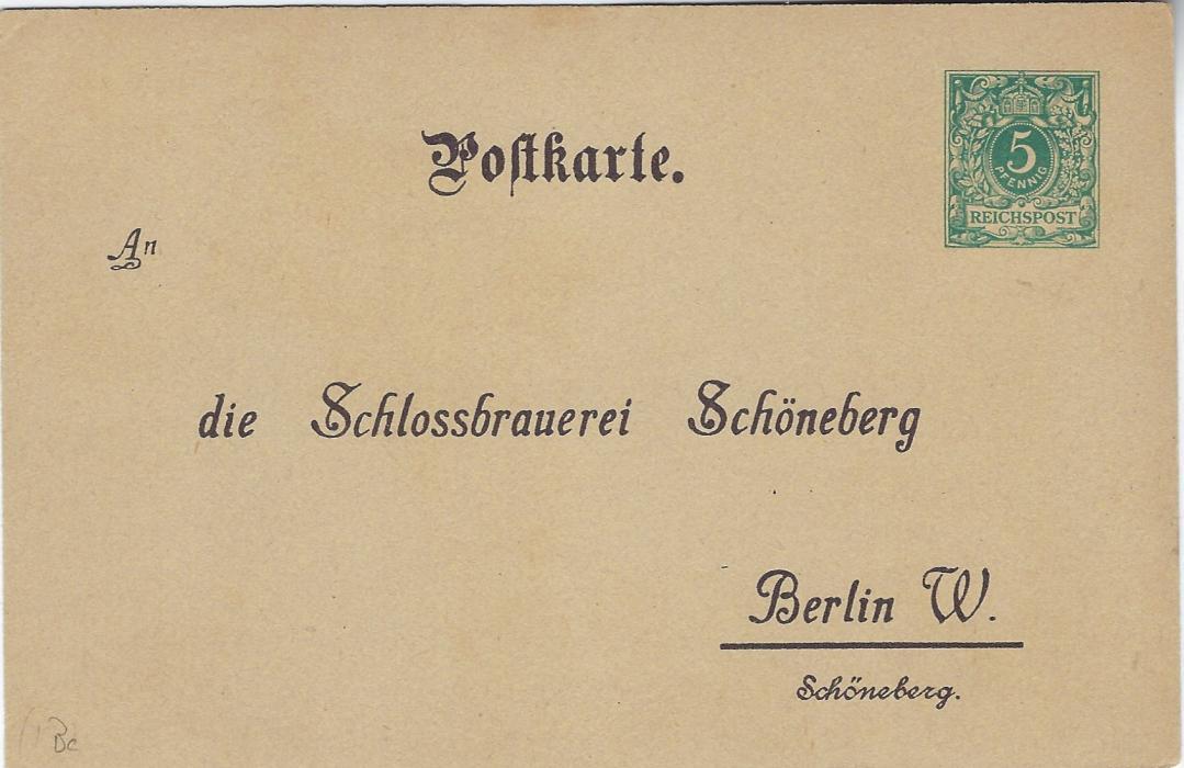 Germany 1900s 5pf. Berlin Schlossbrauerei Schoneberg  order card good unused, PP9 B 11/02.