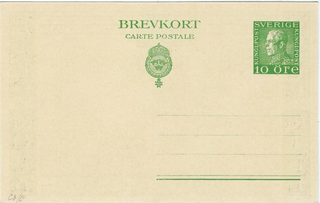 Sweden (Picture Stationery) 1925 10o private card with illustrated of Map and inscription Peace Good Will at left and Life and Work at right, for a 1925 meeting at Stockholm; fine unused.