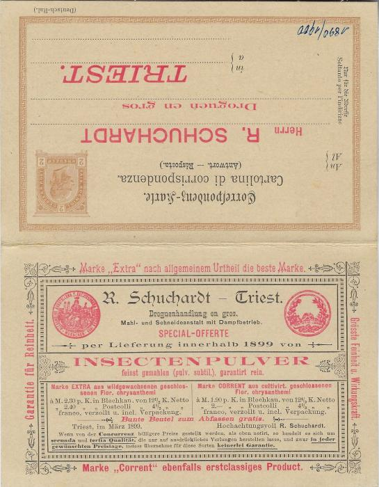 Austria (Advertising Stationery) 1899 (1/3) 2k reply card from Triest to Darmstadt offering Insect Powder with despatch side, an order form, the advertisement and the reply card unused.