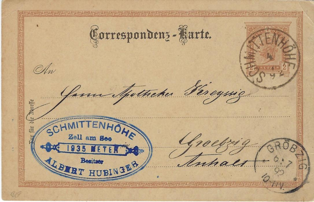 Austria (Picture Stationery - Hotel)1892 2kr. card bearing half image entitled 'Hotel auf der Schmittenhohe' used with Hotel handstamp, cancelled Schmittenhohe with Grobzig arrival below; good condition.