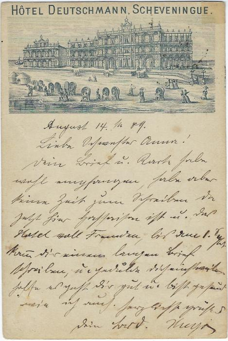 Netherlands (Picture Stationery - Hotel) 1889 5C. card with a one-third image entitled Hotel Deutschmann, Scheveningue used to Kenzingen, Germany; with full message, some slight toning.