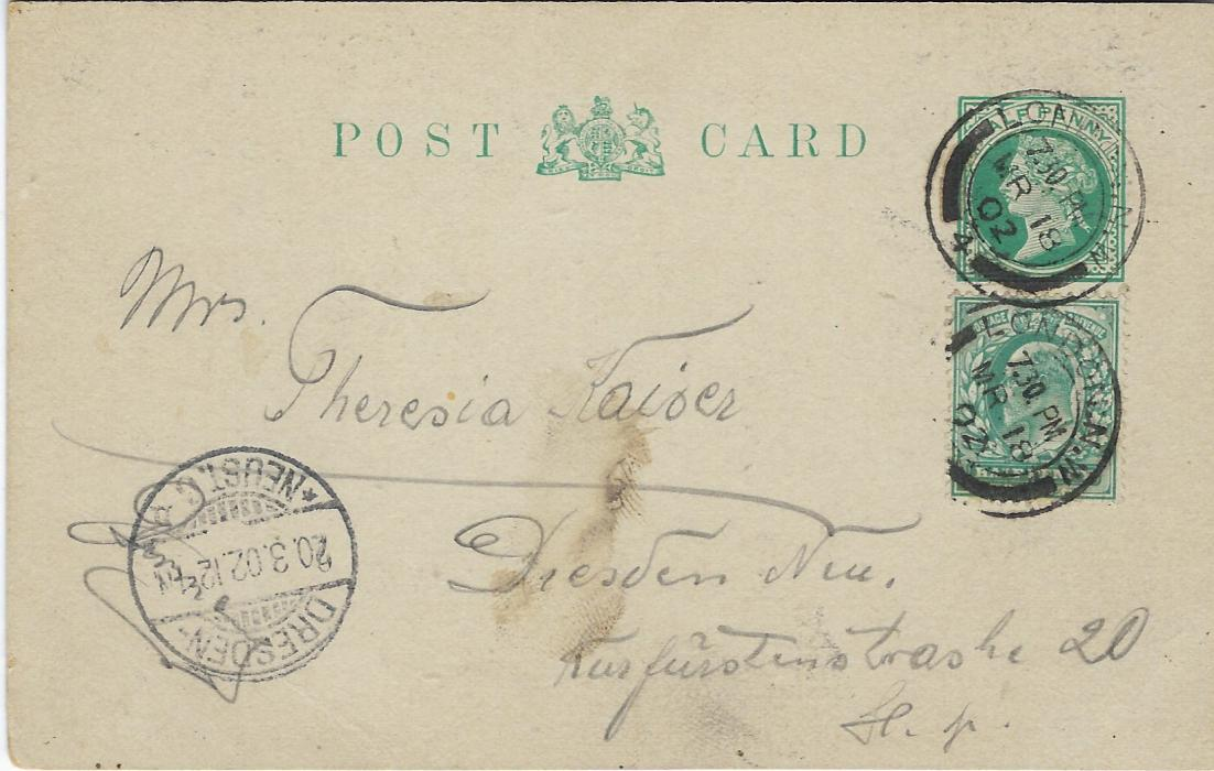 Great Britain (Picture Stationery - Hotel) 1902 ½d. green Queen Victoria stationery card uprated  ½d.  King Edward VII with image on front of Midland Grand Hotel, London, used to Dresden, Germany.