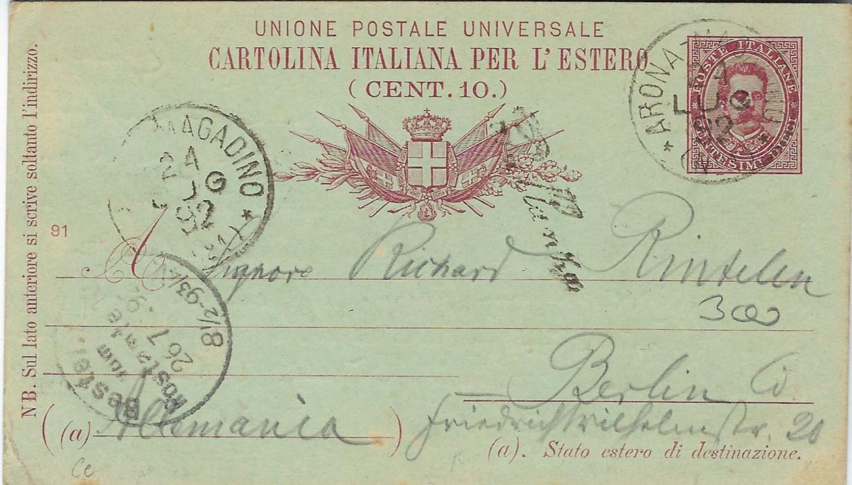 Italy (Picture Stationery - Hotel) 1895 10c. Umberto card Arona-Magadino to Berlin, Prallanza straight-line italic handstamp at centre. The front of card bears image inscribed Hotel Du Dauphin/ Isola – Bella, some slight toning as often with this card.