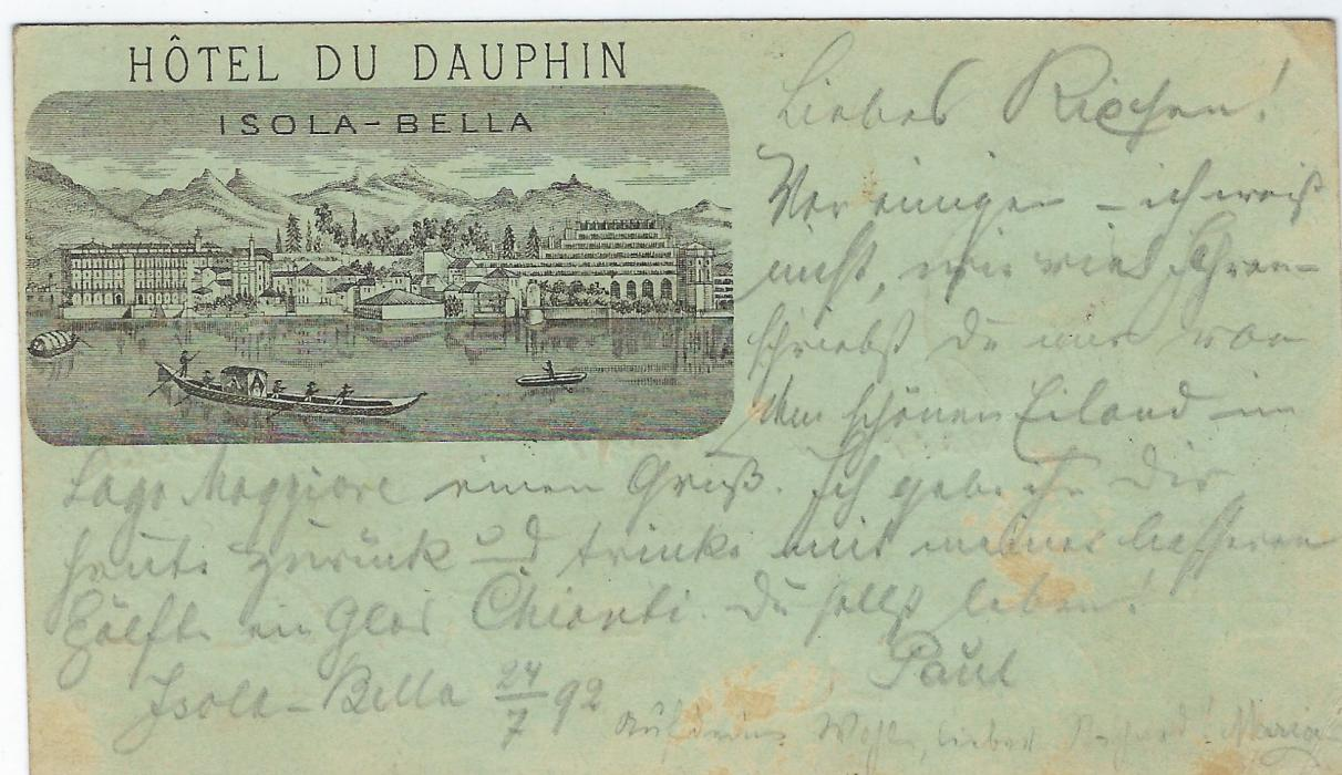 Italy (Picture Stationery - Hotel) 1895 10c. Umberto card Arona-Magadino to Berlin, Prallanza straight-line italic handstamp at centre. The front of card bears image inscribed Hotel Du Dauphin/ Isola � Bella, some slight toning as often with this card.