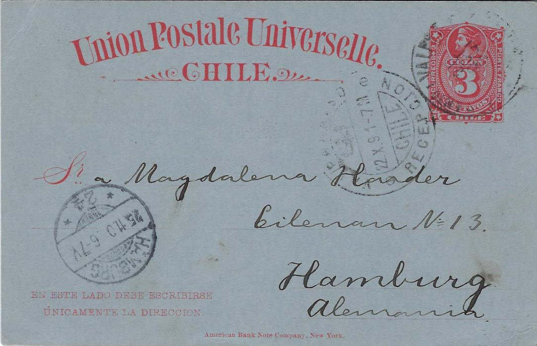 Chile (Picture Stationery - Hotel) 1891 3c. red card used from Valparaiso to Hamburg bearing image on front entitled Gran Hotel/ Vina del Mar of Gardens, Exterior view including Bicycle and Promenade; good used.