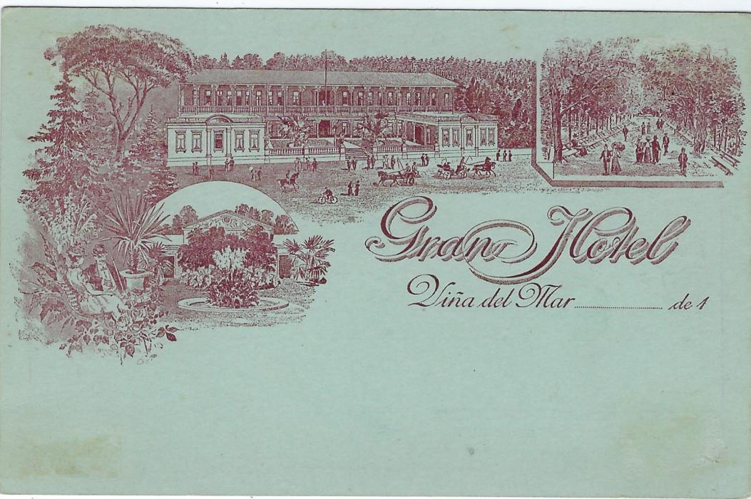 Chile (Picture Stationery - Hotel) 1890s 2c. red card unused  bearing image on front entitled Gran Hotel/ Vina del Mar of Gardens, Exterior view including Bicycle and Promenade; slight tonings.