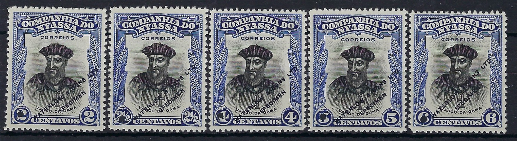 Nyassa Company 1921-23 Perf 12½ Vasco da Gama 2c., 2½c., 4c., 5c. and 6c.  in blue and black unissued colours overprinted WATERLOW & SONS LTD/ SPECIMEN, unused without gum.