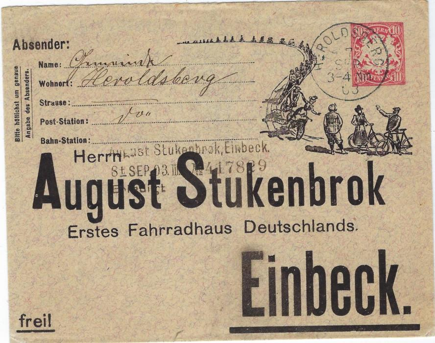 Bavaria (Advertising Stationery) 1903 (7 Sep) 10pf. printed advertising envelope for August Stukenbrok at Einbeck, Germany�s First Bicycle Outlet, used from Heroldsberg; fine and scarce.