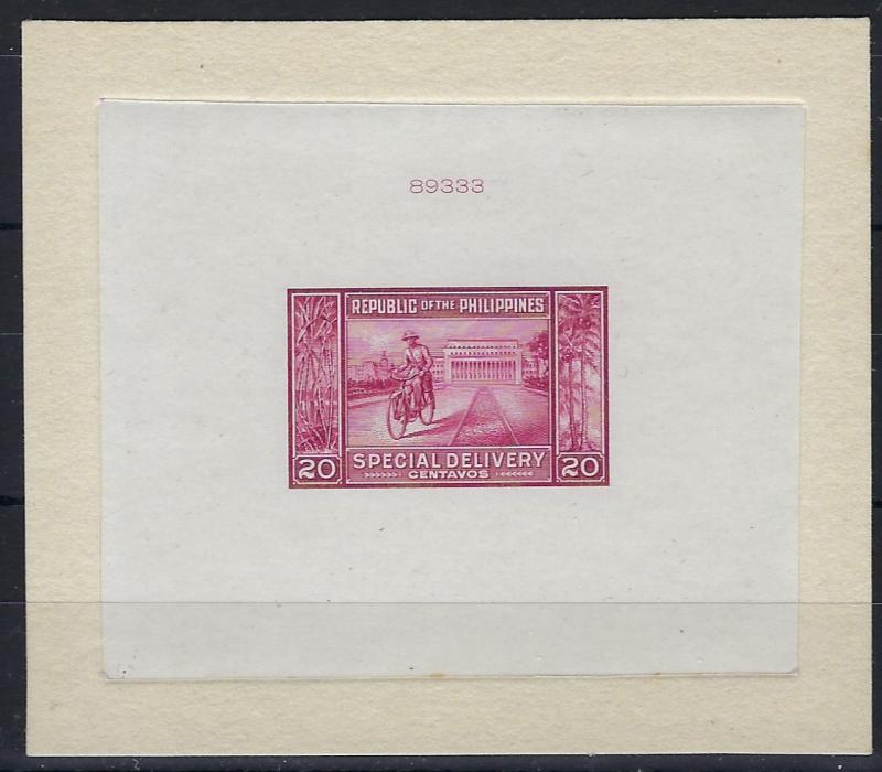 Philippines 1947 Express Letter 20c American Bank Note Co. Die proof in issued colour of Cyclist Messenger and Post Office, with index number at top 89333; fine condition.