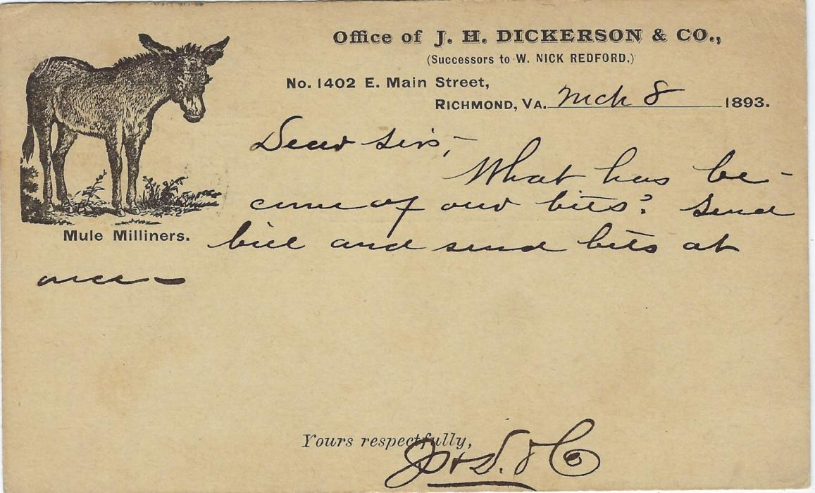 United States (Advertising Stationery) 1893 1c stationery card used from Richmond, VA to Racine, Wis., with on reverse company heading and illustration of Donkey with legend 'Mule Milliners' below; good condition.