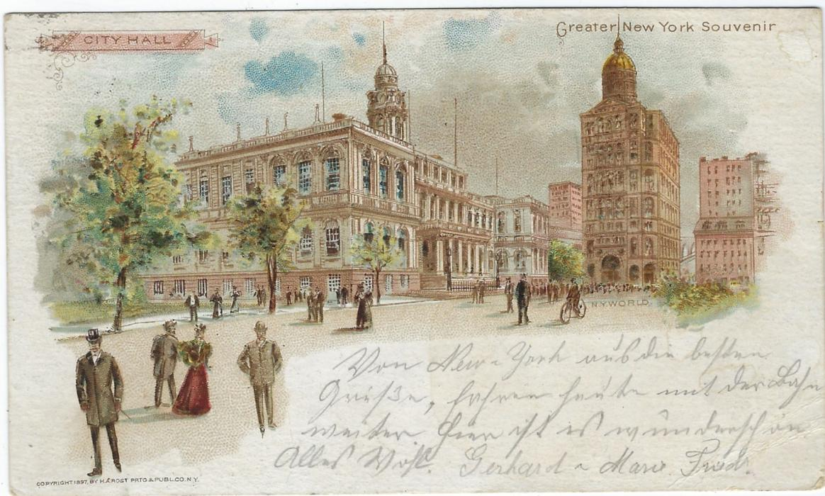 United States (Picture  Stationery) 1898 1c card uprated to Germany with additional stamp carefully removed. The front bearing image entitled City Hall and Greater New York Souvenir, at right there is a clear Bicycle.