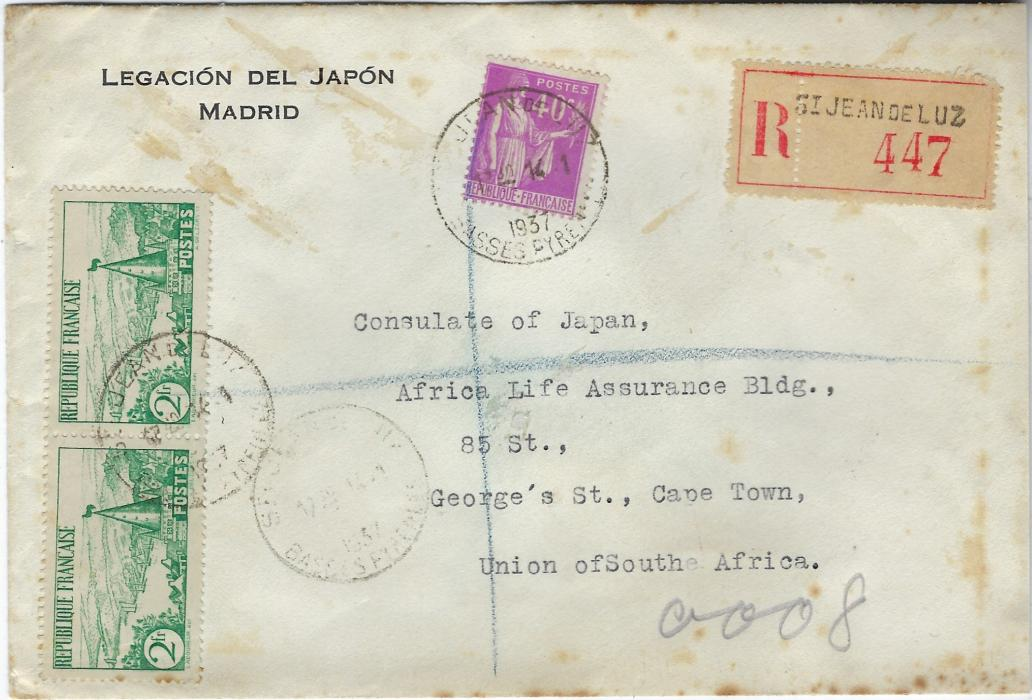 Spain (Spanish Civil War) 1937 (14.1.) 'Legacion Del Japon/ Madrid' envelope to Consulate of Japan, Cape Town, carried outside of the mails to St Jean de Luz because of disruptions caused by the War, there franked with French adhesives tied St Jean de Lux Basses Pyrennie. Reverse with fine wax seal Legation Du Japon Madrid. Without arrival, some toning.