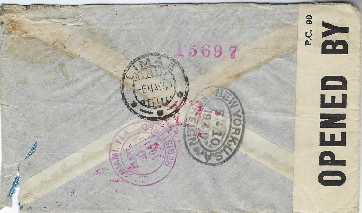 Peru Two 1941 airmail covers addressed to Marseille, a Vichy controlled area, via Miami and New York and then Bermuda where censored and retained, not being released until after the War, showing two different RELEASED wavy-line handstamps; both with corner faults to envelope.