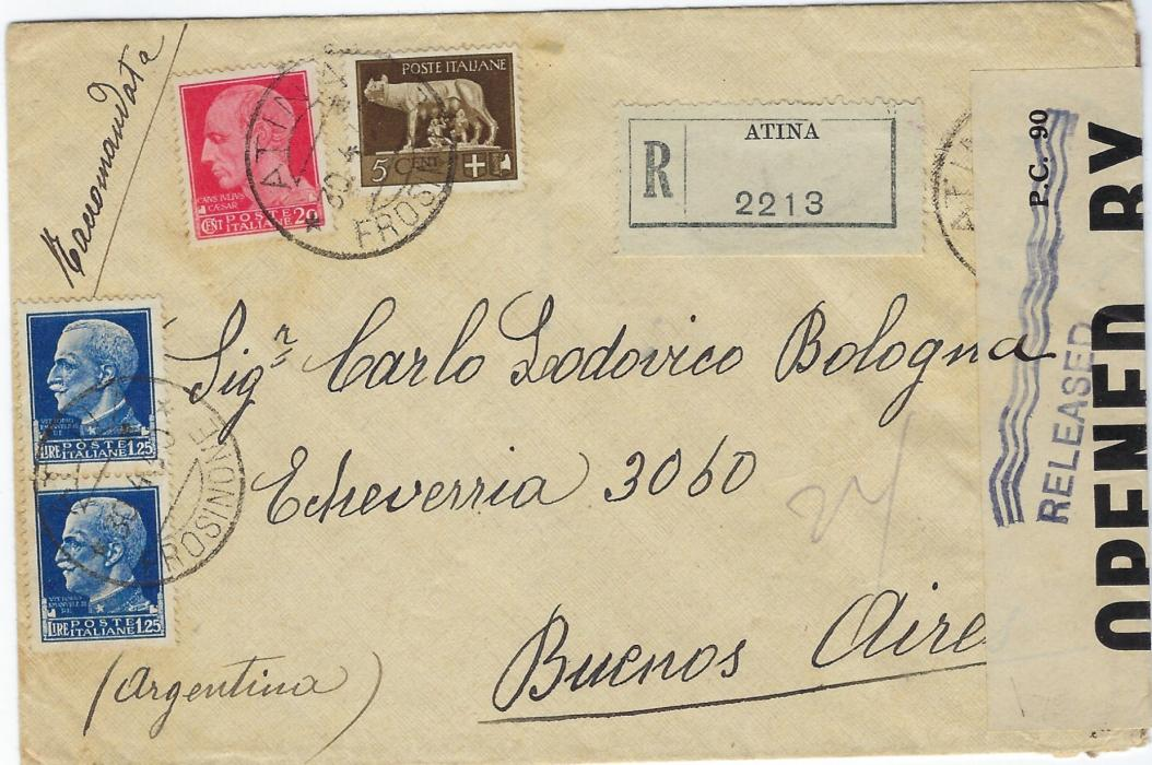 Italy 1940 (30.4.) registered cover from Atina to Buenos Aires, Argentina franked at 1L.75 rate, intercepted and censored in Bermuda with OPENED BY/ EXAMINER 4617 sealing tape with wavy-line RELEASED handstamp front and back.