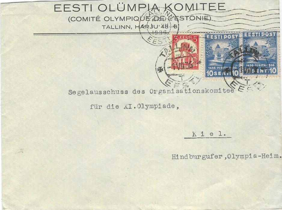 Estonia (1936 Berlin Olympics) 1936 (1.VII.) printed envelope from Estonian Olympic Committee to the Sailing committee of the Organising Committee at Kiel with fine commemorative franking tied Tallinn Eesti cds; fine and scarce.