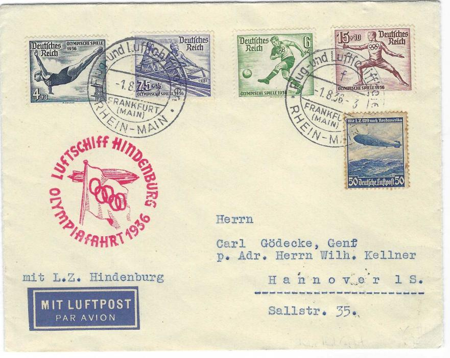 Germany (1936 Berlin Olympics) 1936 (1.8.) Rhein-Main special zeppelin flight with four Olympic stamps and a 50pf Zeppelin with toning around perfs, at left very fine strike of rare red Olympiafahrt  cachet.