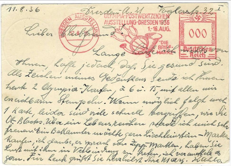 Germany (1936 Berlin) 1936 (16.8.) 15+10pf illustrated postal stationery card to Vaduz, Liechtenstein with 'Bell' Stadium cancel, arrival cancel to left where redirected to Dresden with Exhibition arrival cancel to left, reverse with fine strike of Olympia Postwertzeichen Austellung red meter mail proof strike.
