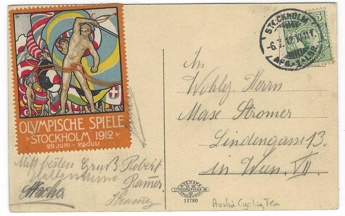 Sweden (1912 Stockholm Olympics) 1912 (6.7.) Engelbrektsplan picture postcard sent to Vienna on 8th day of the Games franked 5o tied Stockholm cds, at left Olympic vignette in German, uncancelled  but tied by some of the signatures of the Austrian Cycling team