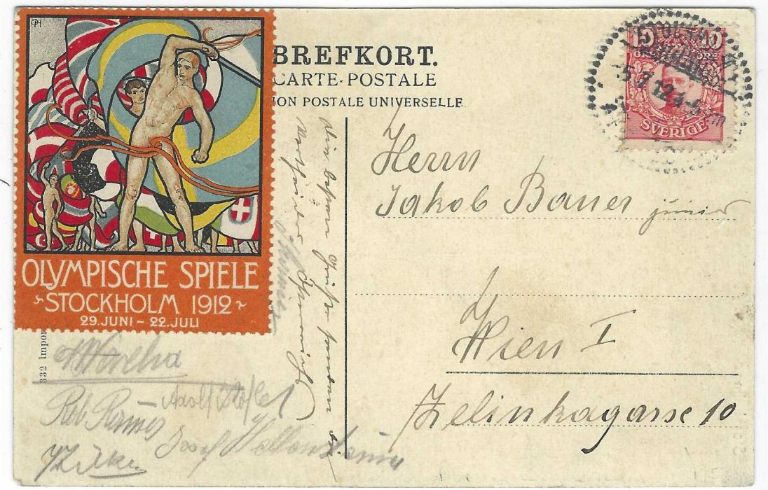 Sweden (1912 Stockholm Olympics) 1912 (5.7.) picture postcard sent to Vienna on 7th day of the Games, franked 10o tied Stockholm cds, at left Olympic vignette in German, uncancelled  but just tied by some of the signatures of the Austrian Cycling team.