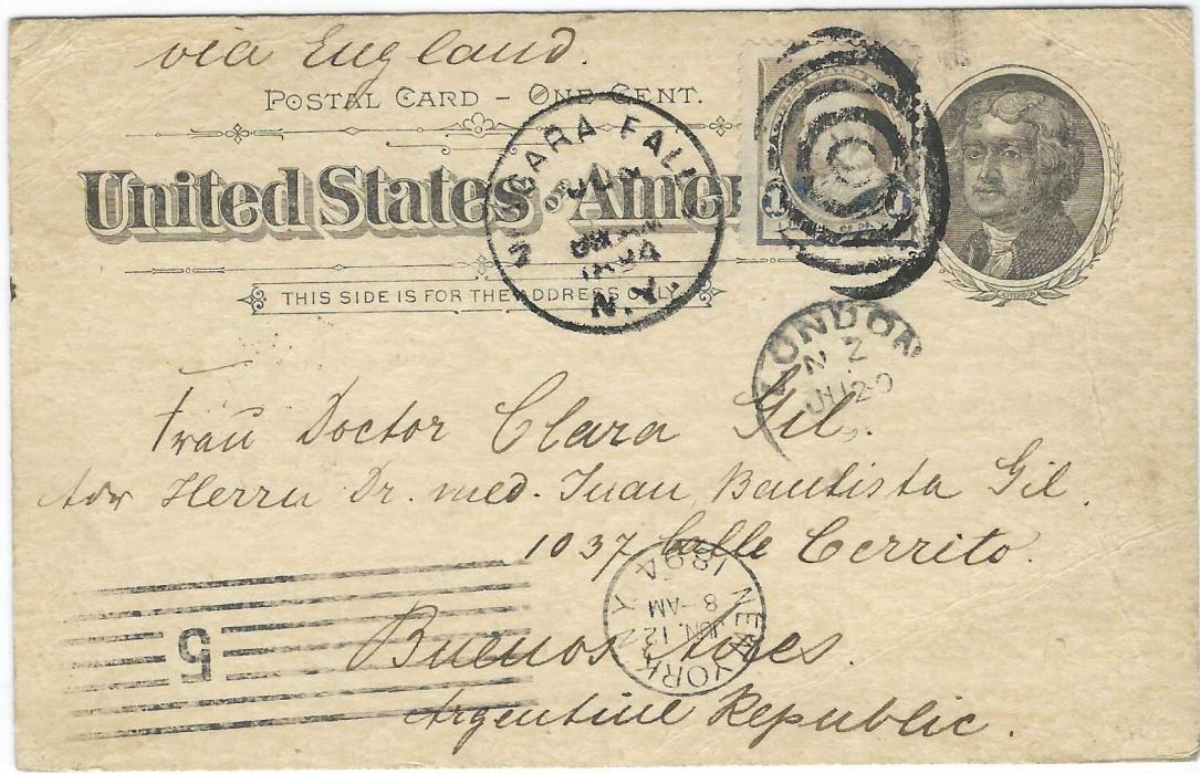 """United States (Waterfall) 1894 (Jun 12) 1c. 'Jefferson' picture stationery of Niagara Falls to Buenos Aires, Argentina, uprated with oxidised 1c. tied Niagara Falls N.Y. cds, endorsed """"via England"""" with London transit of JU 20, arrival backstamp of JL 17."""