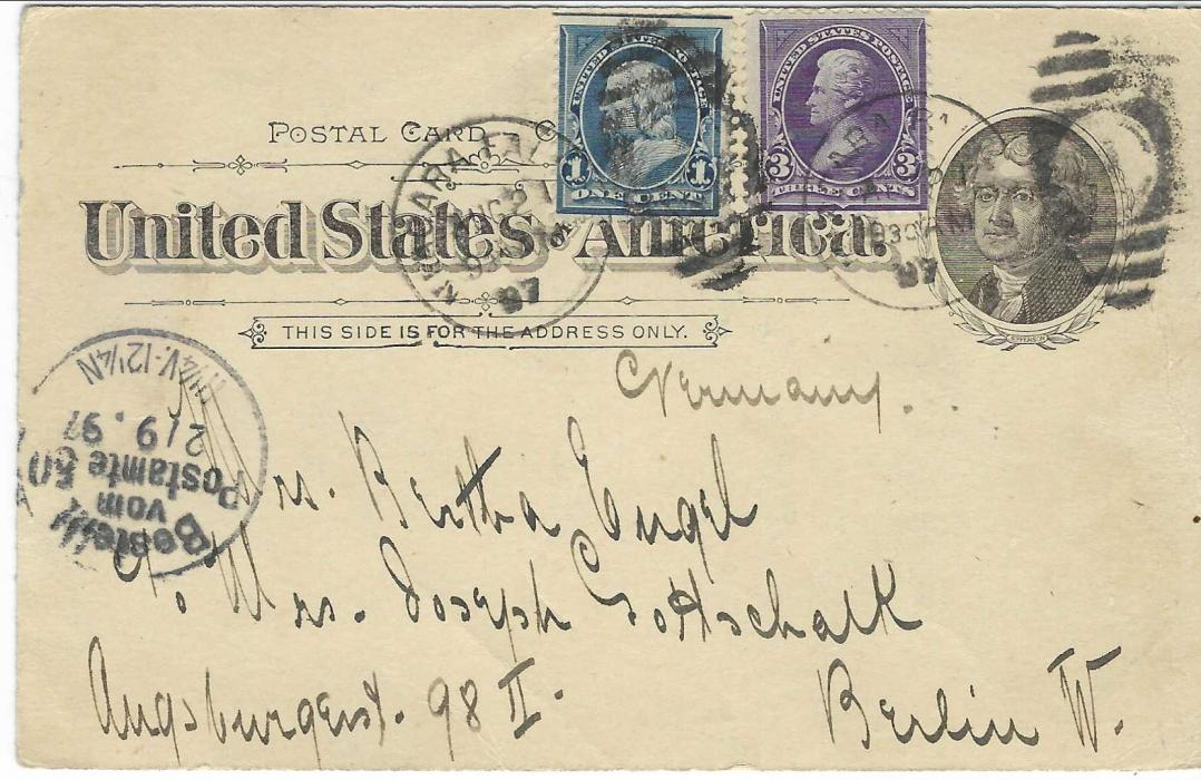 United States (Waterfall) 1897 (Aug 21) 1c. 'Jefferson' picture stationery of Niagara Falls in bright blue-green shade to Berlin, Germany, uprated with 1c. and 3c. tied two Niagara Falls N.Y. numeral duplex, arrival cancel at left