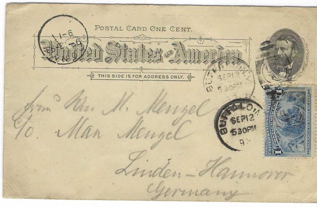United States (Waterfall) 1893 (Sep 12) 1c. 'Grant' picture stationery of Niagara Falls in dull blue-grey  shade to Hannover, Germany, uprated with 1c. tied two Buffalo Falls N.Y. numeral duplex, arrival cancel at left