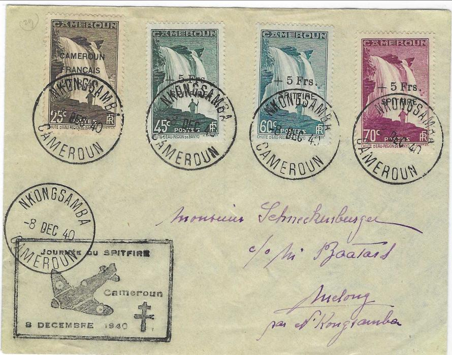 French Cameroun 1940 (8 Dec) cover  bearing three + 5Frs./ SPITFIRE values plus 25c. Waterfalls tied Nkongsamba Cameroun cds, framed illustrated 'Journee Du Spitfire' handstamp, these stamps were used towards the cost of purchasing the fighter plane for the Free French Airforce.