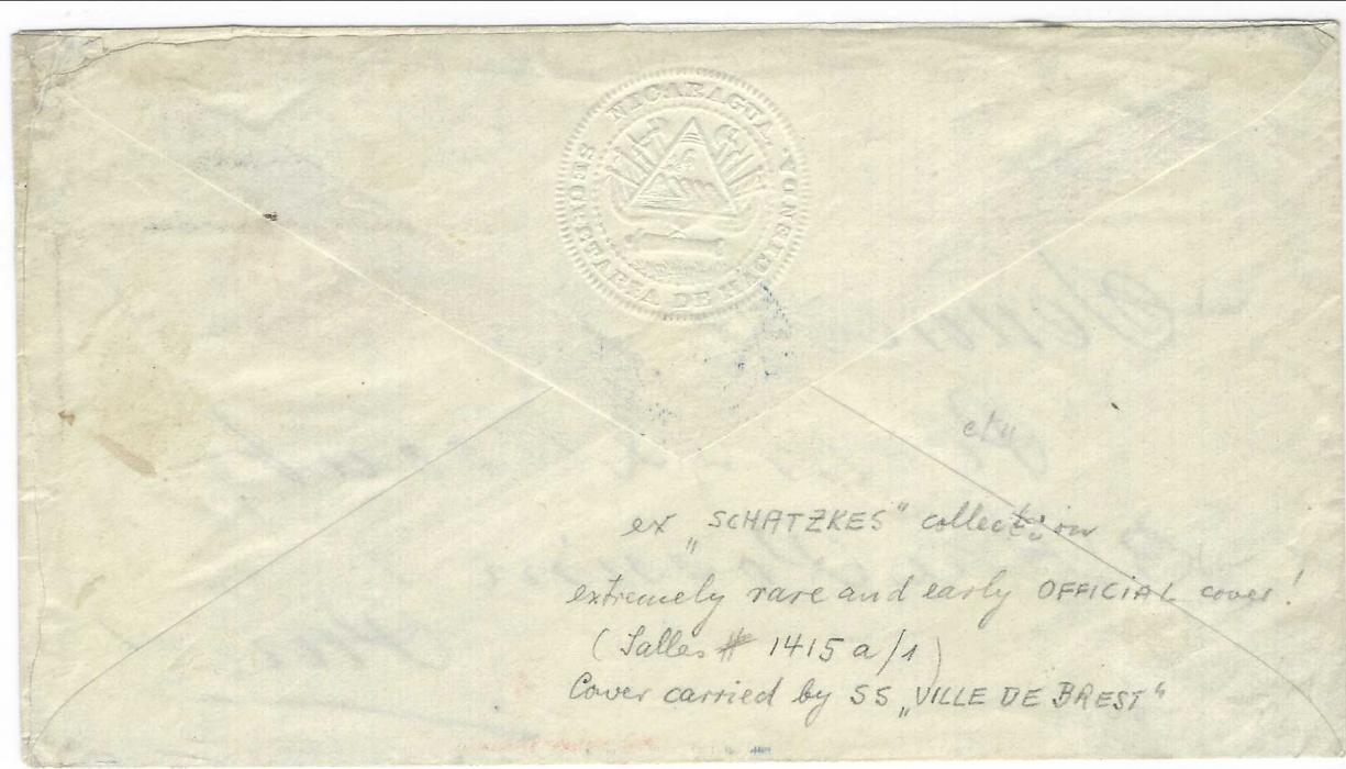 """Nicaragua 1883 envelope with imprinted albino seal on backflap 'Secretaria De Hacienda', addressed to Paris routed through Colon to connect with the """"Ville de Brest"""" bound for St. Nazaire. Front bears red French maritime octagonal Panama-Union * Paq.F.A.No.1 * date stamp (Salles 1415a/1) with blue arrival alongside. Rare and early Official cover. Ex Schatykes."""