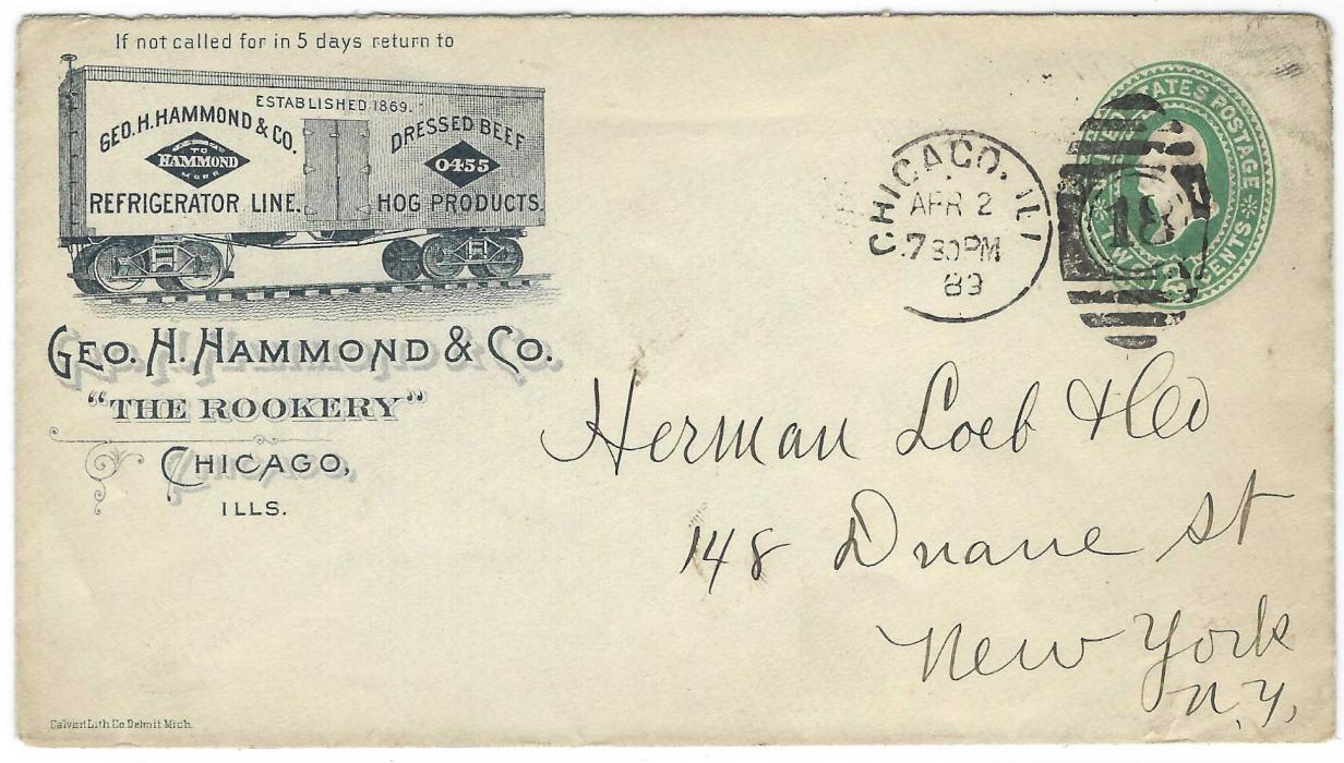 United States (Advertising Stationery) 1889 2c. stationery envelope, Chicago to New York, bearing image at left of refrigerated railway truck for Beef and Hog, arrival backstamp.