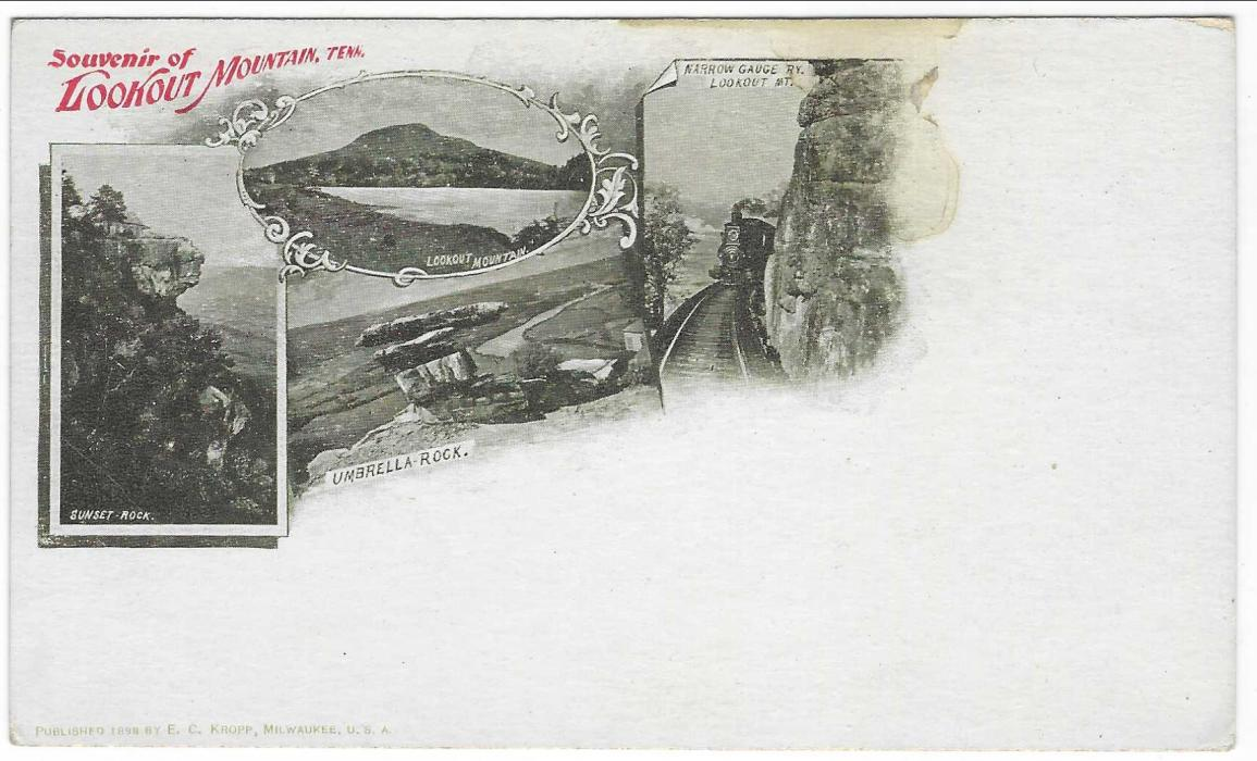United States (Picture Stationery) 1890s 1c postal card with four image illustration entitled 'Souvenir of Lookout Mountain Tenn.', one at right showing narrow gauge Railway; unused with slight water stain.