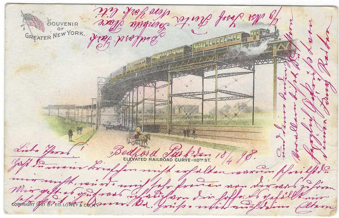 United States (Picture Stationery) 1898 1c. stationery entitled 'Souvenir of Greater New York'  depicting Elevated Railroad Curver 110th St. used to Germany with uprating stamp removed but still showing New York Williams Bridge duplex.