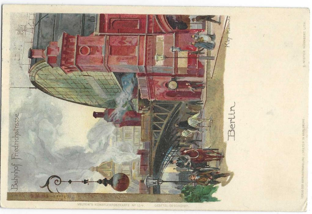 "Germany (Picture Stationery) 1900 2pfstationery with artists image entitled ""Bahnhof Friedrichstrasse"" of Berlin, used from Charlottenburg; fine and scarce."