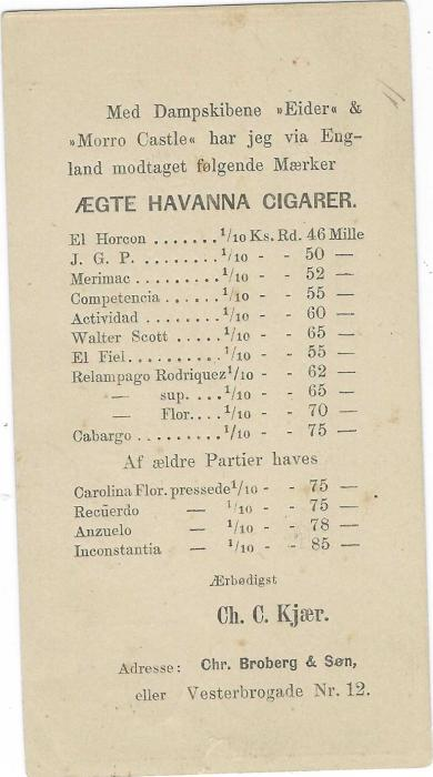 Denmark (Advertising  Stationery) 1871 2sk. Stationery card bearing, on reverse printed price list for Havana Cigars; some toning on stamp image side, a very early advertising card.
