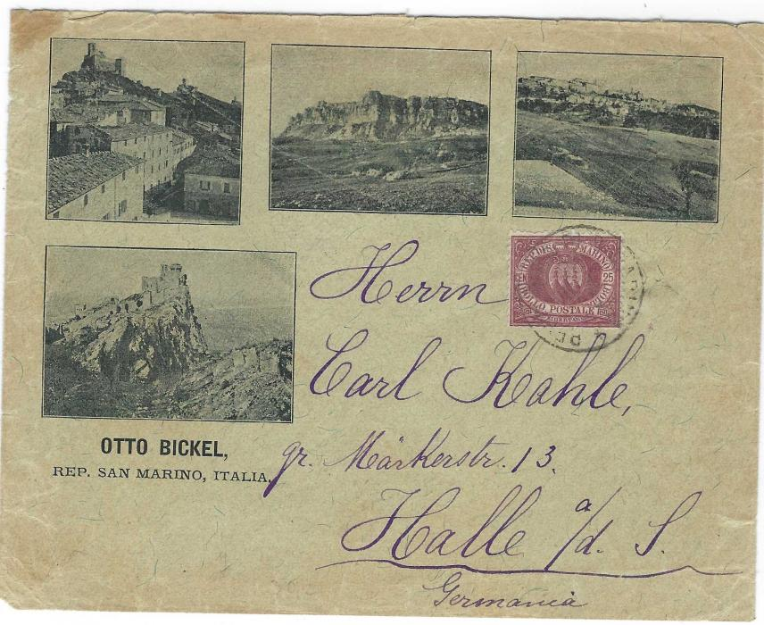 San Marino (Advertising envelope) 1893 'Otto Bickel' envelope bearing four images of city on front whilst on reverse advert for four language 'San Marino Philatelist' that sells Postage Stamps, Coins, Books, Photos, franked 25c. tied unclear cds, reverse with Halle arrival; small stain top left.