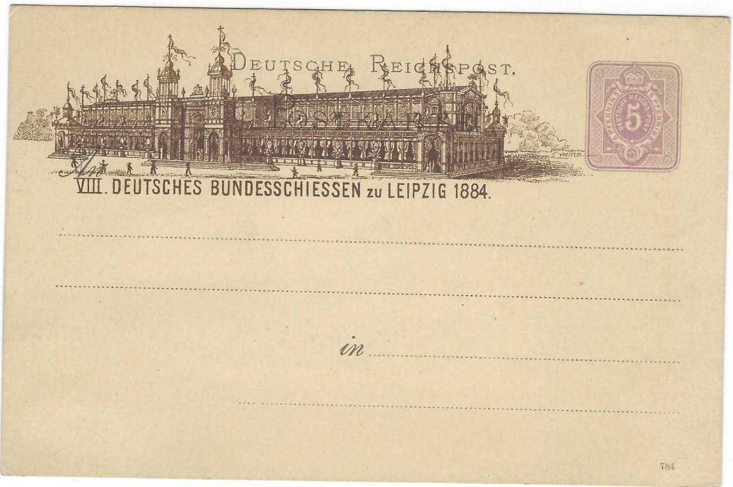 Germany (Picture Stationery) 1884 5pf. 'VIII Deutsches Bundesschiessen' at Leipzig very fine unused. PP6