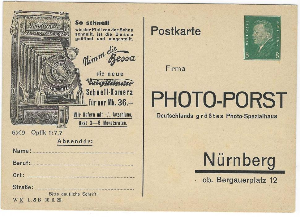 Germany (Advertising Stationery) 1930s 8pf. Ebert with fine illustrated camera card for Photo-Porst of Nurnberg; very fine unused.