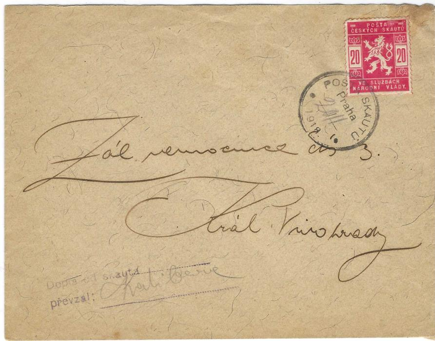 Czechoslovakia 1918 (20.XI.) envelope franked 20h. Coat of Arms tied Posta Skautu Praha date stamp, handstamp and signature at lower left; slight staining at top right but still good example of this Boy Scout mail, no backstamps.