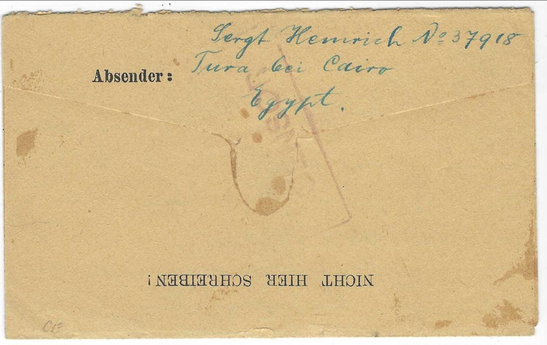 Egypt 1919 (12 FE) 'Prisoners of War' stampless printed envelope to Morogoro, East Africa, redirected to Germany with Field Post Office GM date stamp (GHQ of Egyptian Expeditionary Forces), red framed CENSOR with further three-line framed censor handstamp in same ink below.