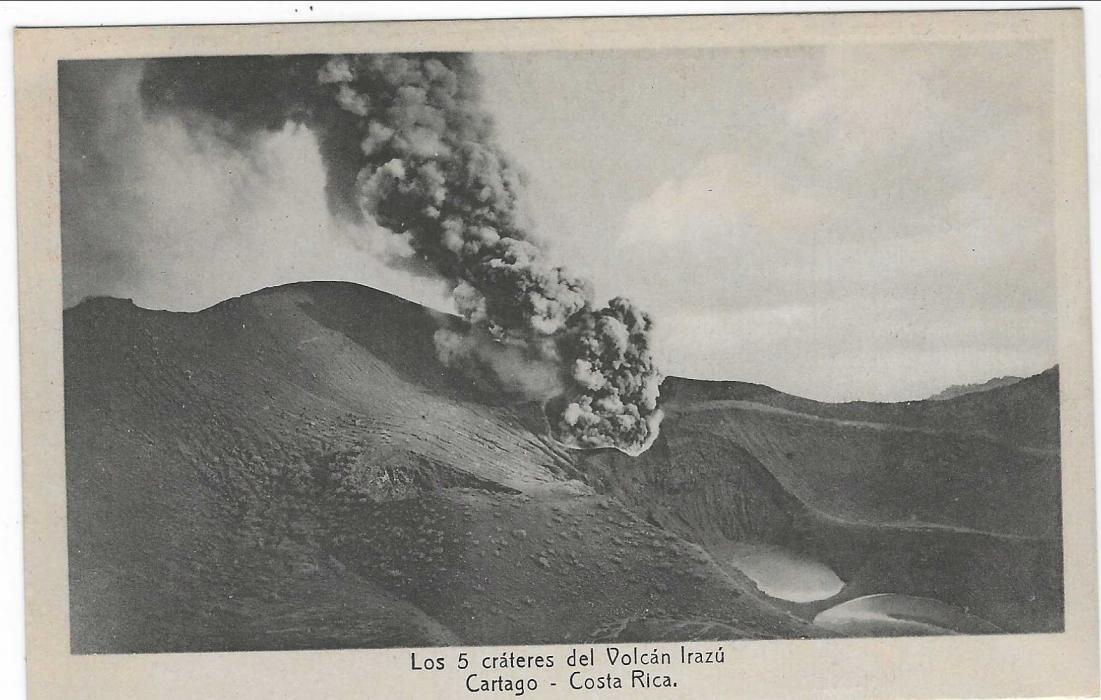 Costa Rica (Picture Stationery) 1923 4c. card titled The Five Craters of Irazu Volcano, Cartago; fine unused.