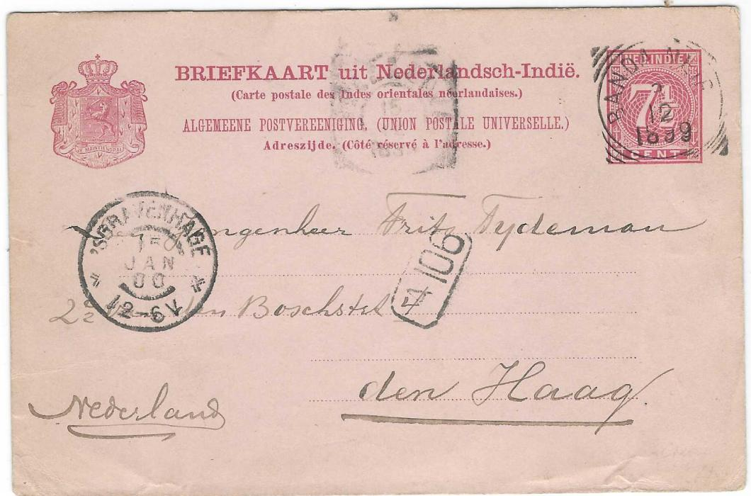 Netherland Indies (Picture Stationery) 1899 (2/12) 7½c. card with photographic image on front, now a little faded of Banda Volcano to Den Haag, cancelled Banda square circle, unclear transit and arrival cds at left. Scarce used card.