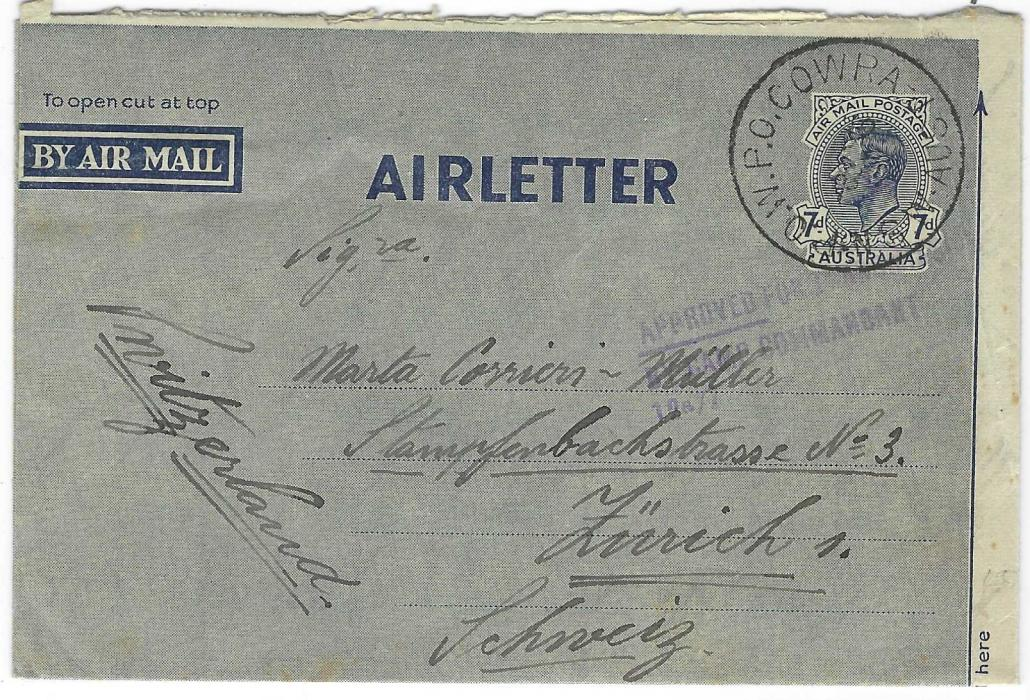 Australia (Prisoner of War) 1940s 7d. postal stationery air letter to Switzerland cancelled P.O.W. P.O. Cowra N.S.W. Aust. cds and below this three-line APPROVED FOR TRANSMISSION/ BY CAMP COMMANDANT/12A/7 handstamp, senders details on reverse; fine condition.