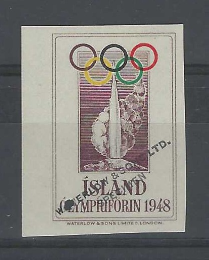 Iceland (Olympics) 1948 London Olympics vignette proof in unissued colours, imperf marginal with small archival punch hole and 'Waterlow & Sons Ltd/ Specimen', fresh mint never hinged.