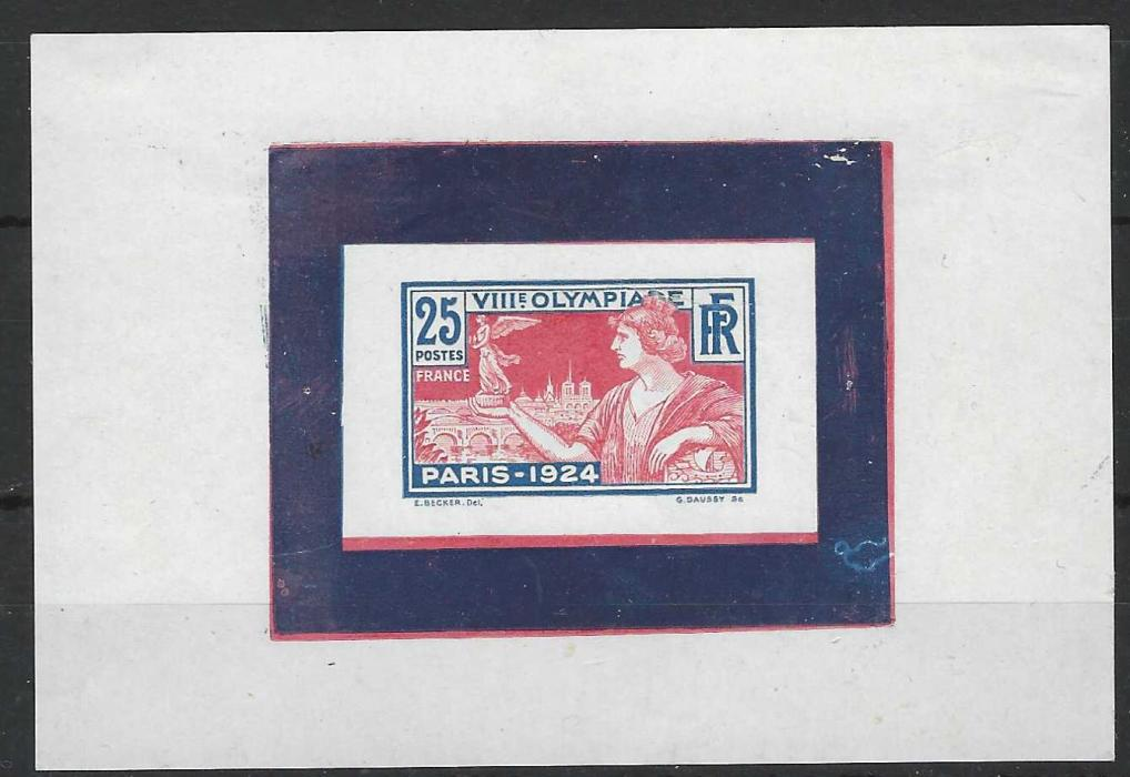 France (Olympics) 1924 Paris Olympics 25c die proof in red and blue (unshaded background) on glossy paper with surround in both colours; small internal crease at top through 'Olympia', fresh hinged.
