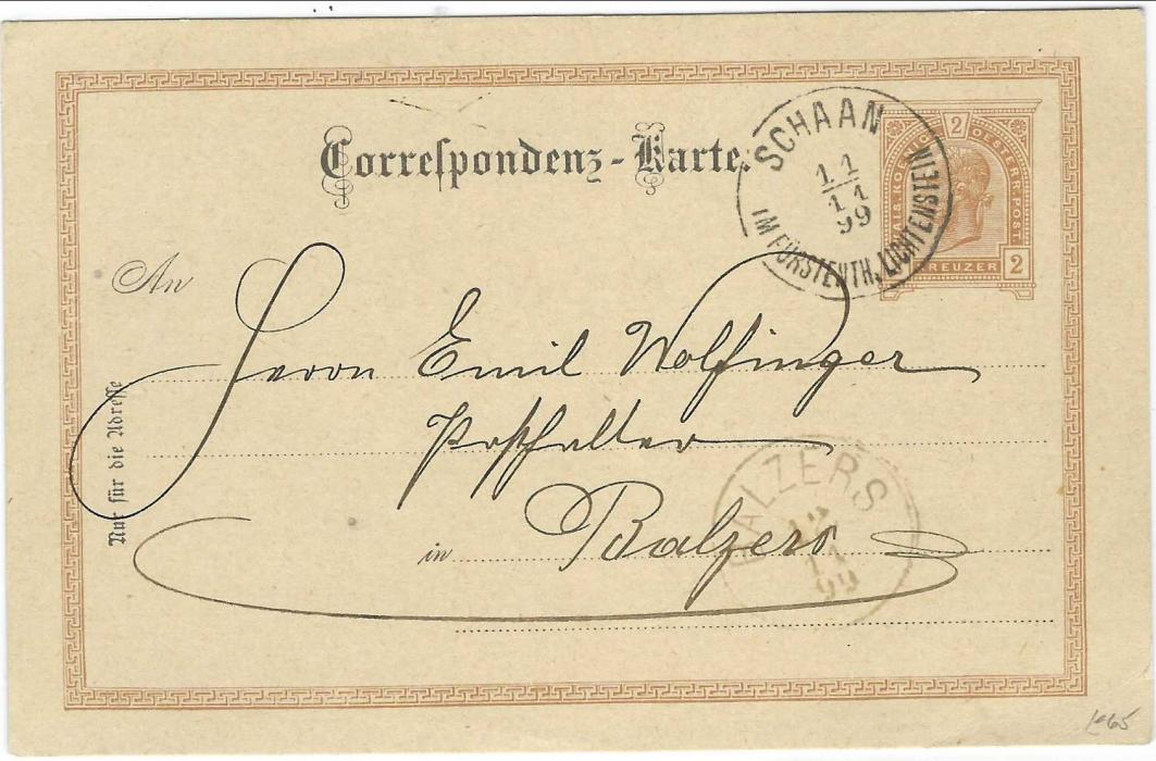 Liechtenstein (Austrian Forerunner) 1899 (11/11) Austria 2kr. postal stationery card sent internally cancelled Schaan Im Fursteuth Liechtenstein, with arrival Balzers cds below.A very fine quality strike.