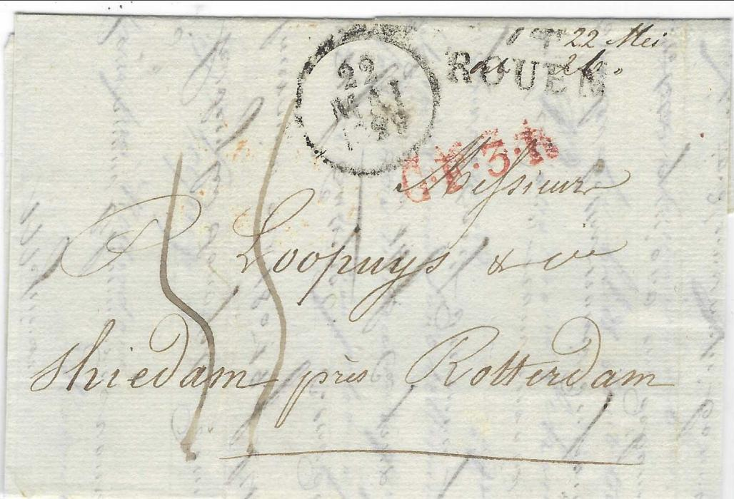 Netherlands 1829 entire from Rouen, France to Shiedam, near Rotterdam bearing straight-line ROUEN and red accountancy C.F.3.R (Correspondence Francaise 3rd Rayon), reverse with Rotterdam cds and two-line DEB/ ROTTERDAM.