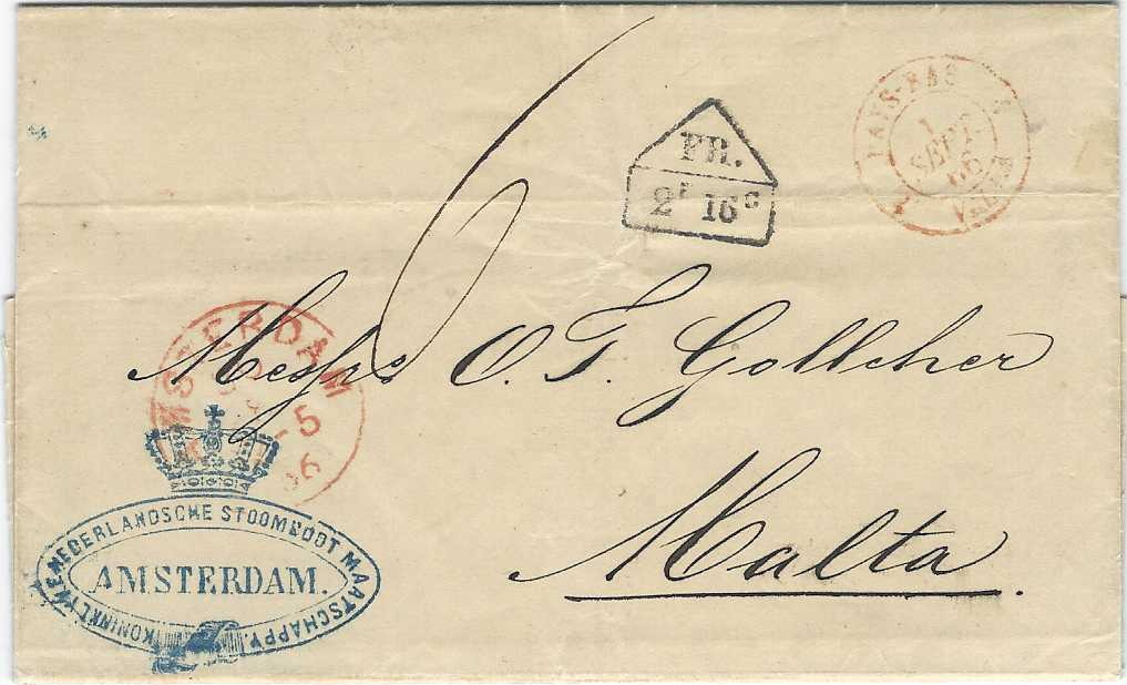 Netherlands (Accountancy) 1860 entire from Royal Netherlands Steamship Company in Amsterdam (blue cachet on front) to Malta, rated
