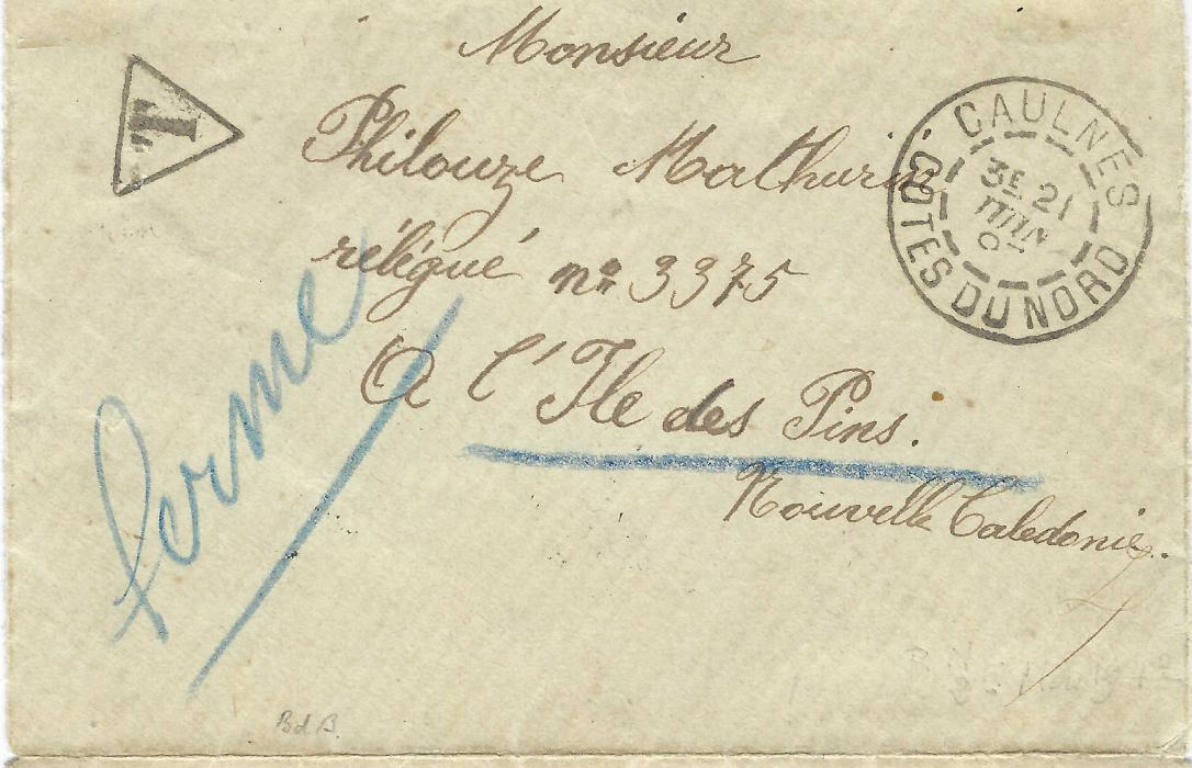 "New Caledonia 1897 (21 June) incoming unfranked opened-out envelope from Caulnes, Cotes du Nord via Paris addressed to a prisoner at ""Ile desPins""taxed on arrival with 50c. Postage Due tied arrival cds with Noumea cds alongside. The prison was closed at this date and envelope bears blue manuscript ""Ferme"". Fine and scarce with Roumet certificate (2012). Ex. Grabowski."