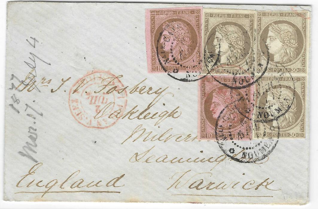New Caledonia 1877 (6 Avril) small cover to Leamington, Warwick, England franked General Colony issues Ceres 10c. brown on rose (2) and 30c. (3, vertical pair and single) tied by Nlle Caledonie Noumea cds, red octagonal transit Paq An. V. Suez Marseille 1, reverse with Marseille A Paris tpo and Leamington arrival of JY 4; fine and attractive.